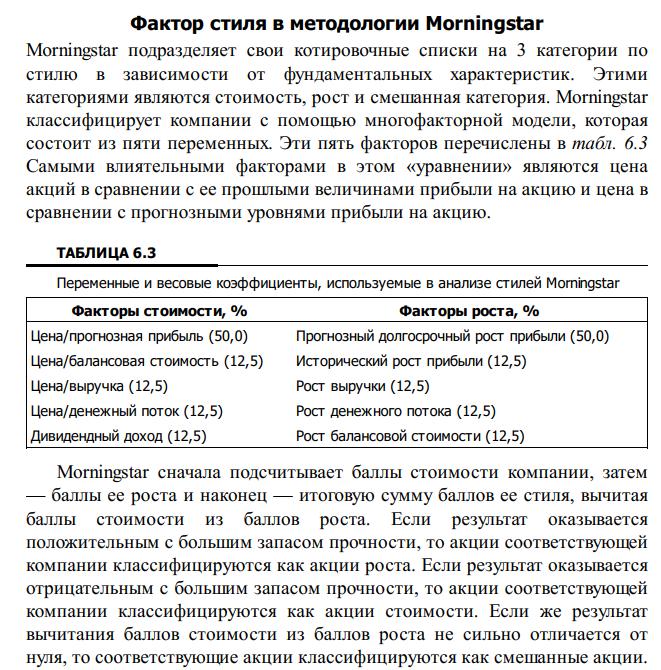 morningstar рост и стоимость