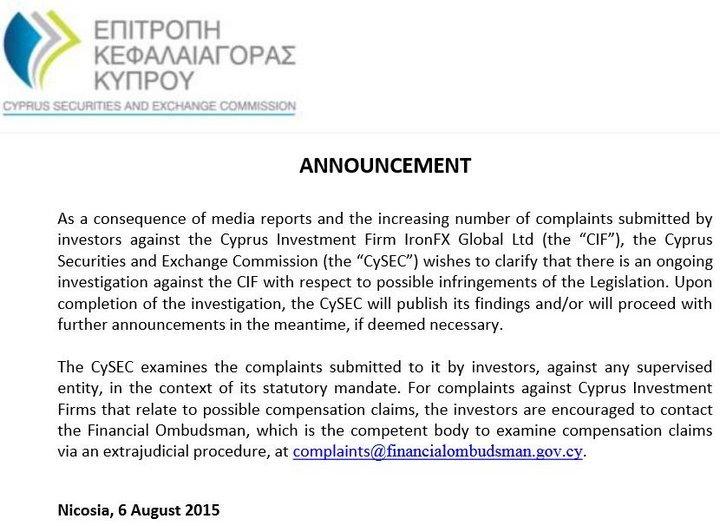 предупреждение Cysec о IronFX