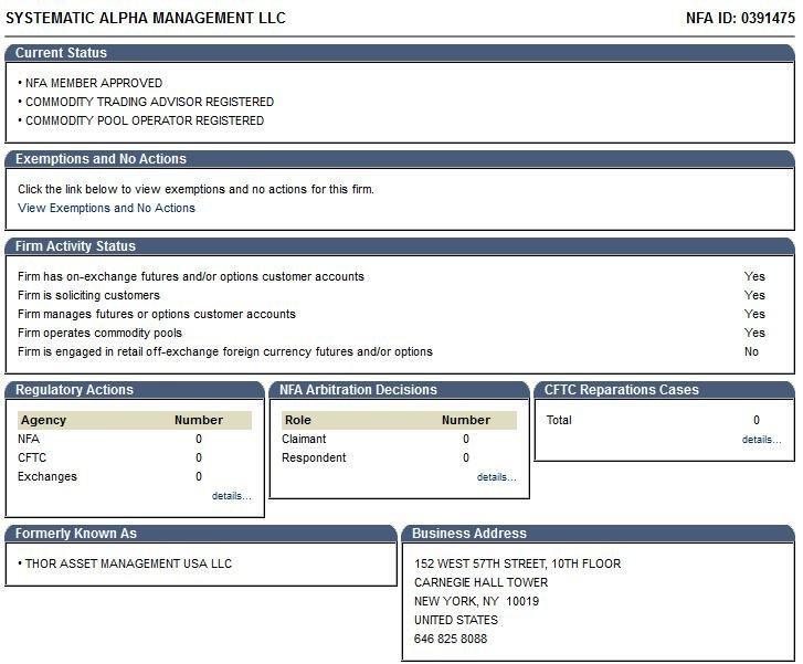 Лицензия NFA Systematic Alpha Management LLC