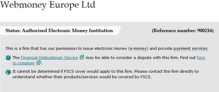 webmoney получает FCA