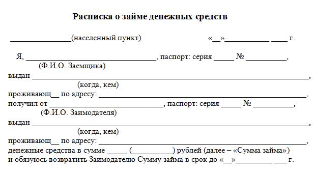 образец договора займа